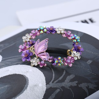 Purple Painted Butterfly Open Center Hair Barrette