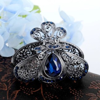 Blue Teardrop Rhinestone Metal Fancy Hair Claw Rounded