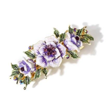 Purple Enameled Metal Flower Barrette