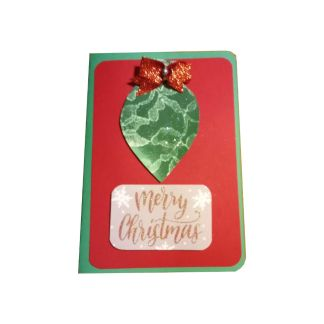 Green Ornament Christmas Card with Bow