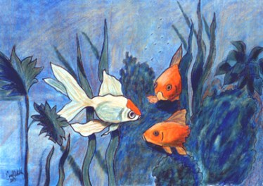 """""""Goldfish"""" in colored pencil"""