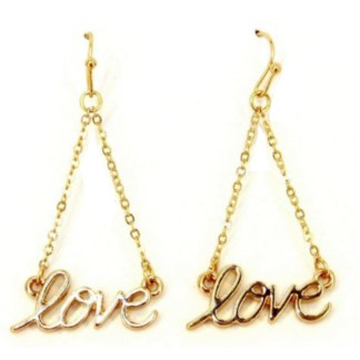 Love Chain Link Drop Script Gold Plated Fashion Earrings