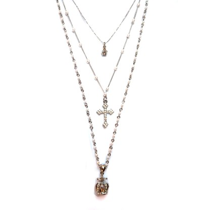 Long 3-Layer Cross Crown Charms Silver Rosary White Pearl Necklace Clear CZ