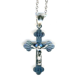 Crucifix Cross Dimn Cut Religious Christian Cross Necklace Sterling Silver 925