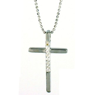 "Sterling Silver 925 Long Skinny Cross CZ Studded Necklace 18"" Chain Gift Box"