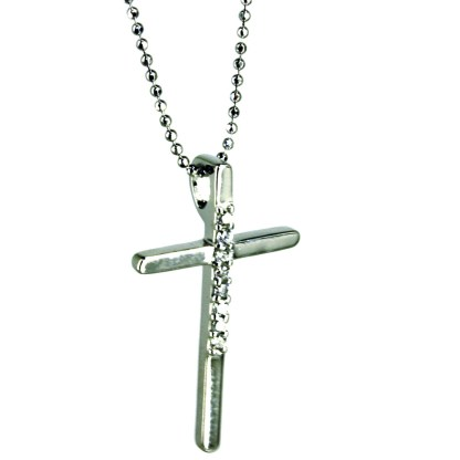 """Sterling Silver 925 Long Skinny Cross CZ Studded Necklace 18"""" Chain Gift Box"""