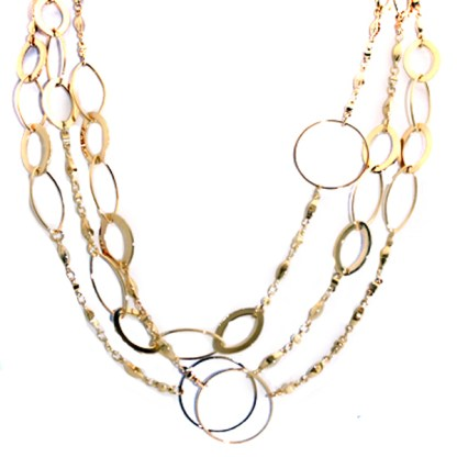 "Extra Long 48"" Layered Open Circle Links 18K Gold Plated Necklace or Belt Adj"