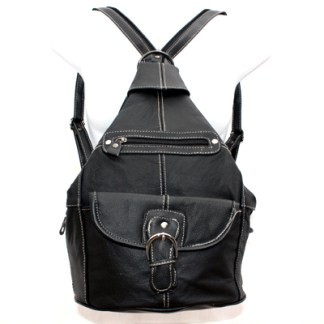 Genuine Leather Medium Black Sling Backpack Organizer