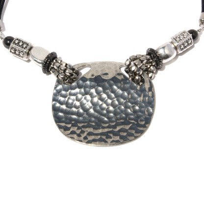 Large Hammered Oval Shield Pendant Double Leather Cord Hematite Silver Necklace