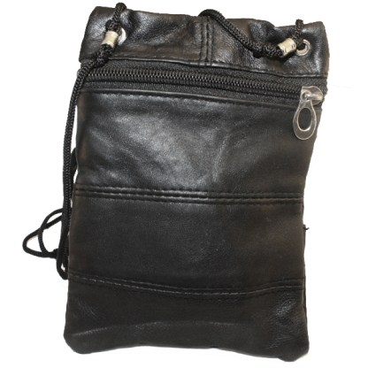 Genuine Black Lambskin Leather Travel Shoulder Bag