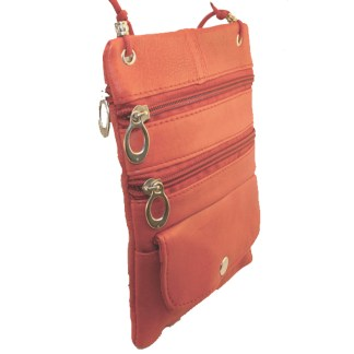 Genuine Red Lambskin Leather Travel Shoulder Bag