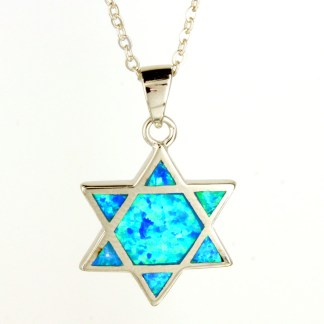 "Sterling Silver 925 Large Star of David Blue Opal Inlay Necklace 18"" Gift Box"