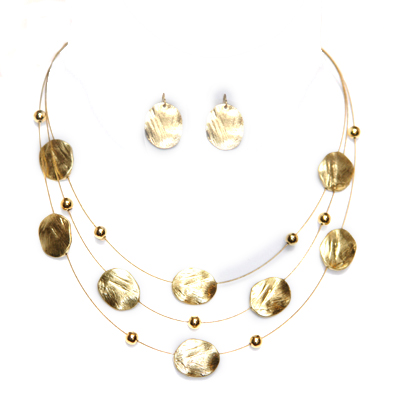 Brushed Ovals 3-Layer 18Kt Gold Pl Necklace ER Set