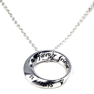 Holiday Gift for Sister Forever Friend Open Circle Charm Sterling Silver Necklace