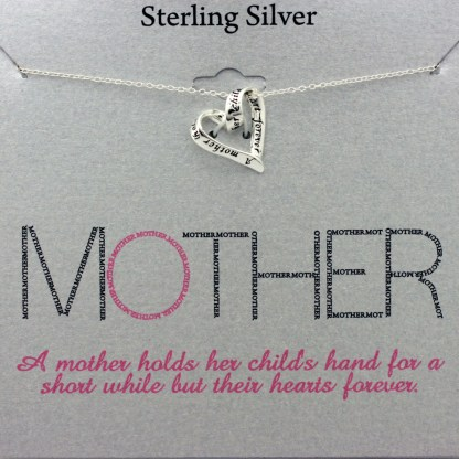 """Holiday Gift for Mom Mother Holds Childs Heart Necklace Sterling Silver 925, 18"""""""