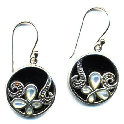 Round Sterling Silver Marcasite Drop Earrings Onyx MOP Butterfly on Vine