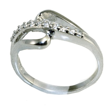 Sterling Silver 925 High Polished Pave Cubic Zirconia SZ 6-9 Wrap Ring Gift Box