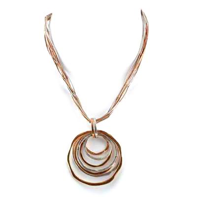 Tri Tone Sculptured Circle Slider Liquid Metal Necklace