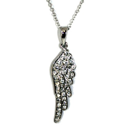 Guardian Angel Wing Pendant Charm Pave Cubic Zircone Silver PL Necklace 18""