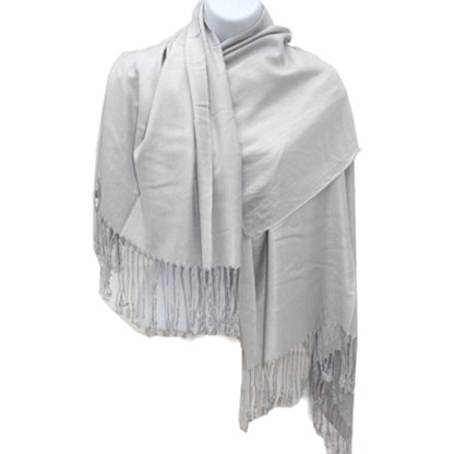 Nepal Solid Silver 2 Ply Pashmina Shawl Scarf Stole