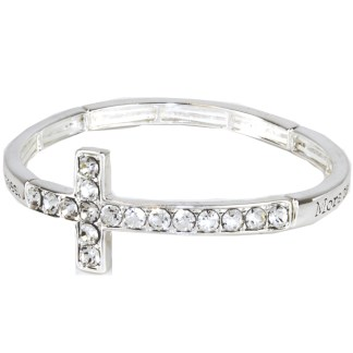 Sideway Cross CZ ID Bangle Bracelet Answered Prayers Tears Silver Plated Gift