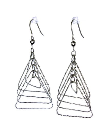 Long Drop Earrings Triangle Wire Silver