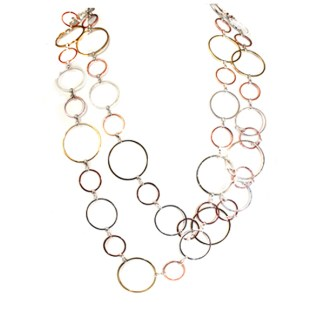 """Extra Long Fancy Graduated Open Links Chain Try Tone Necklace Earring Set 44"""""""