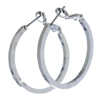 Hoop Earrings Lever Back Closure Beaded Silver