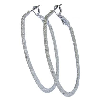 Hoop Earrings Lever Back Closure Diamond Dust Oval Silver