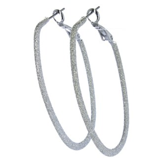 Hoop Earrings Lever Back Closure Diamond Dust Oval Silver
