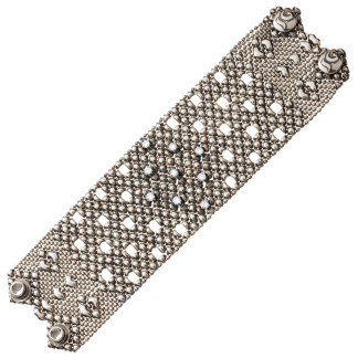 Sergio Gutierrez Liquid Metal Crystal Galaxy Stars Mesh Wide Cuff Bracelet Together Anitque Silver RTB 23