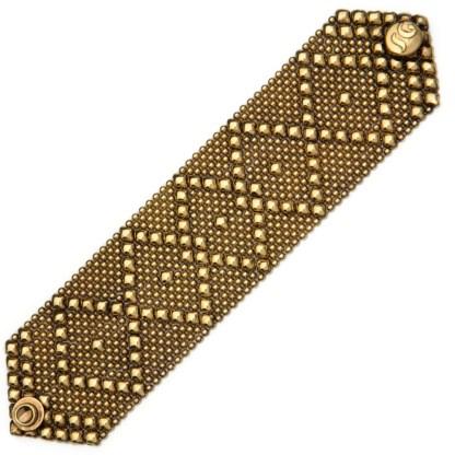 Sergio Gutierrez Liquid Metal Bracelet Wide Diamond Pattern Antiqued Gold