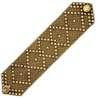 Sergio Gutierrez Liquid Metal Bracelet Wide Diamond Pattern Antiqued Gold