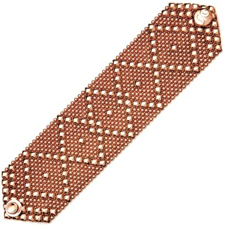 Sergio Gutierrez Liquid Metal Bracelet Wide Diamond Pattern Rose Gold