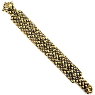 Sergio Gutierrez Liquid Metal Bracelet Nerrow Diamond Pattern Antiqued Gold