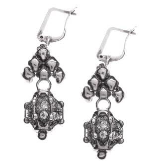 Sergio Gutierrez Liquid Metal Caged Fireball Euro Clasp Drop Antiqued Silver Earrings