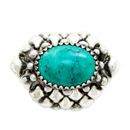 Sergio Gutierrez Liquid Metal Oval Turquoise Gem Center Stone Ring
