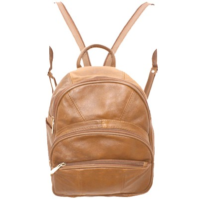 Genuine Leather Round Top Light Brown Backpack Organizer Bag