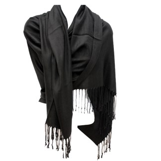 Nepal Solid Black 2 Ply Pashmina Shawl Scarf Stole