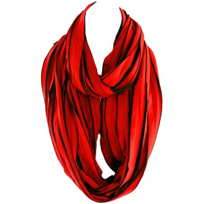 Elegant Ruffled Red Black Infinity Loop Scarf Wrap