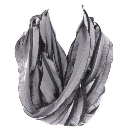 Elegant Ruffled Gray Black Infinity Loop Scarf Wrap