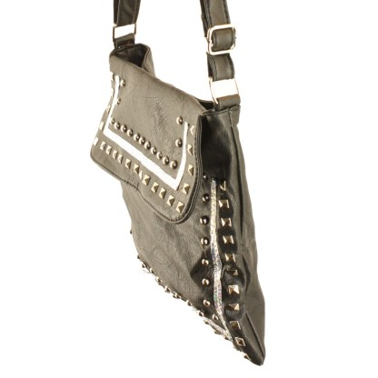 Zippered Crystal & Metal Studded Green Crossbody Messenger Bag