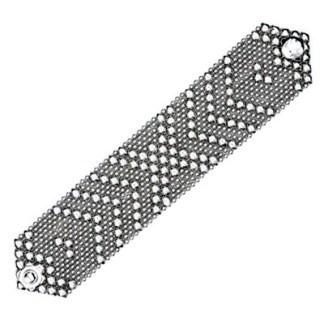 Sergio Gutierrez Liquid Metal Wide Flexible Cuff Bracelet Crossing Arrows 6.75in