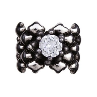 Sergio Gutierrez Liquid Metal Mesh Ring CZ Prong Set