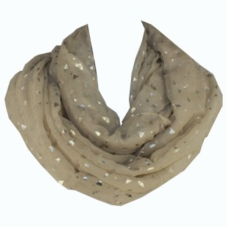 Shiny Triangle Print Trendy Hipster Cream Soft Infinity Loop Figure Eight Scarf