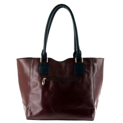 Argile Applique Patchwork Two Tone Large Shoulder Tote Handbag Coffee Black