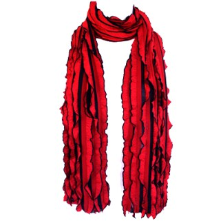Elegant Ruffled Bright Red Black Soft Light Shawl Scarf Wrap