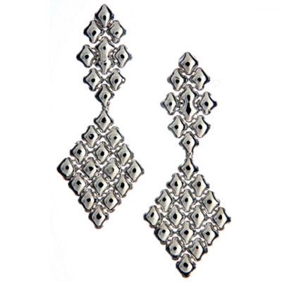 Sergio Gutierrez Liquid Metal Long Diamond Shape Chandelier Earrings