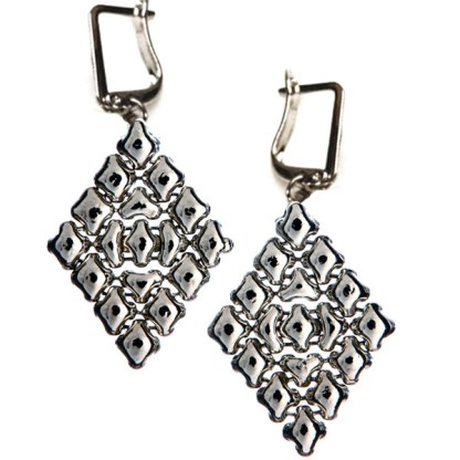 Sergio Gutierrez Liquid Metal Large Diamond Shape Euro Clasp Drop Earrings