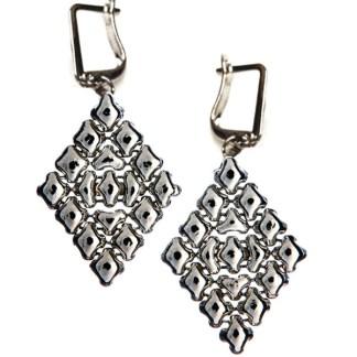 Sergio Gutierrez Liquid Metal Large Diamond Shape Euro Clasp Drop Earrings